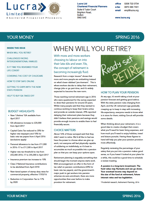 Your Money - Spring 2016